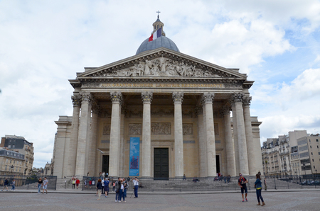 PARIS - AUG 11:  The Pantheon in Paris, France is shown on August 11, 2016. It serves as a mausoleum housing the remains of distinguished French people such as Voltaire and Marie Curie