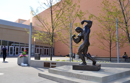 COLUMBUS, OH - JUNE 27: A sculpture of Arnold Schwarzenegger at the Columbus Convention Center is shown on August 7, 2017. Columbus hosts the annual Arnold Fitness Festival.