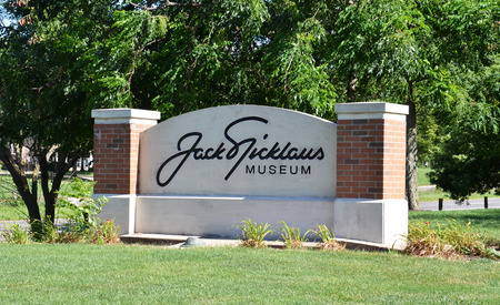 COLUMBUS, OH - JUNE 25: The sign for the Jack Nicklaus museum in Columbus, Ohio is shown on June 25, 2017. The museum honors the golfer, who won 20 major championships. Editorial