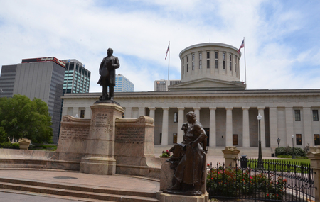 COLUMBUS, OH - JUNE 28: The Ohio Statehouse in Columbus, Ohio is shown on June 28, 2017. It is a National Historic Landmark