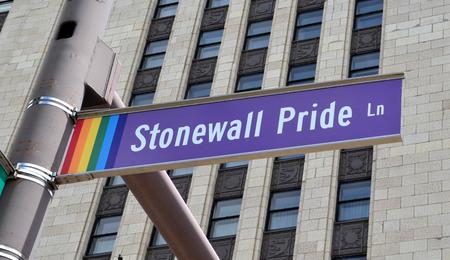COLUMBUS, OH - JUNE 28: Stonewall Pride Lane sign in Columbus, Ohio is shown on June 28, 2017. Gay Street is renamed that as part of Gay Pride Week. Editorial