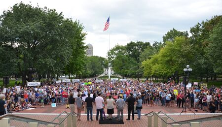 ANN ARBOR, MI - AUG 13: Clergy members address a rally in solidarity with the counter-protesters of Charlottesville, VA in Ann Arbor, MI on August 13, 2017.