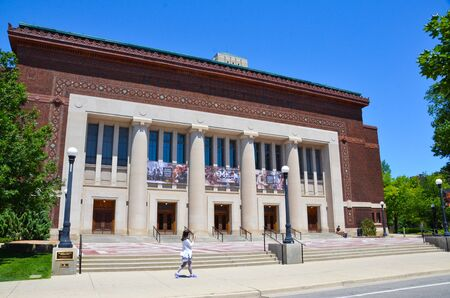 ANN ARBOR, MI  USA - JULY 2 2017: The University of Michigan, whose Hill Auditorium is shown here, celebrated its 150th anniversary in 2017. Sajtókép