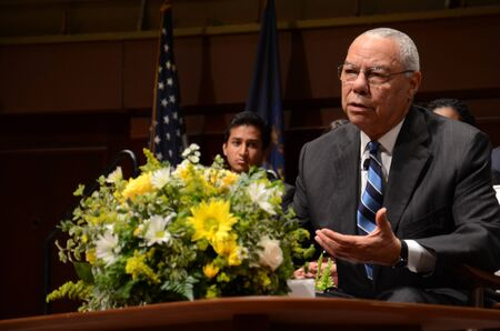 ANN ARBOR, MI - SEPTEMBER 19 2017: Colin Powell answers questions after delivering the James R. Mellor Lecture at the University of Michigan's Hill Auditorium.