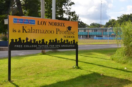 KALAMAZOO, MI  USA - AUGUST 12, 2017: Graduates of Loy Norrix high school, shown here, can get free college tuition through the Kalamazoo Promise program.
