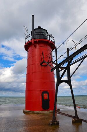 SOUTH HAVEN, MI  USA - AUGUST 12, 2017: The South Haven lighthouse in South Haven beach on Lake Michigan, shown here, was built in 1903. Sajtókép