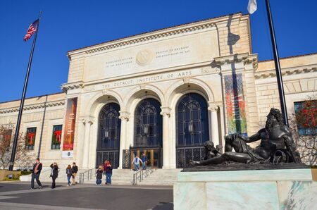 DETROIT, MI  USA - NOVEMBER 24, 2017:  The Detroit Institute of Arts, shown here, includes Diego Riveras Detroit Industry frescoes.