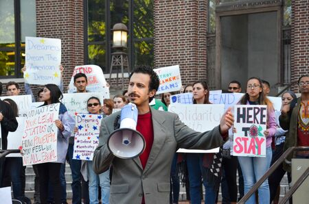 ANN ARBOR, MI  USA - SEPTEMBER 8, 2017: State Rep. Yousef Rabhi speaks at a pro - DACA rally at the University of Michigan. Sajtókép