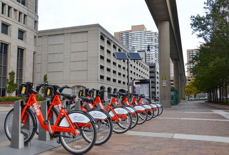 DETROIT, MI  USA, October 21, 2017:  Some of the 430 MoGo bicycles that are active in Detroit are shown in their station off Woodward Ave.