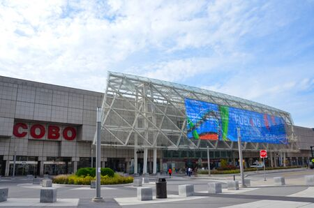 DETROIT, MI  USA - OCTOBER 21, 2017:  Cobo Center convention center, shown here, hosts the North American International Auto Show.
