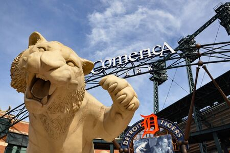 DETROIT, MI  USA - OCTOBER 21, 2017: The tiger at the main entrance of Comerica Park, home of the Detroit Tigers, greets visitors.