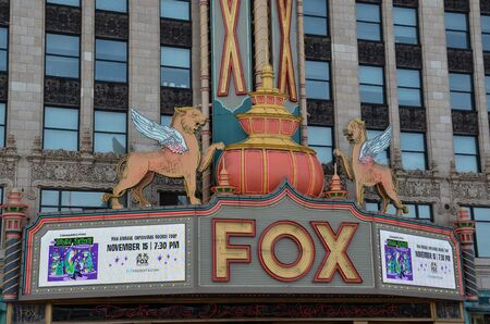 DETROIT, MI  USA - OCTOBER 21, 2017: The Fox Theater in Detroit, MI, whose marquee is shown here, was designated a historic landmark in 1989.