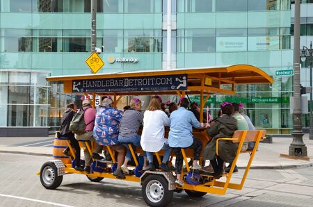 DETROIT, MI  USA - OCTOBER 21, 2017:  Visitors take a ride on the Handle Bar in downtown Detroit.