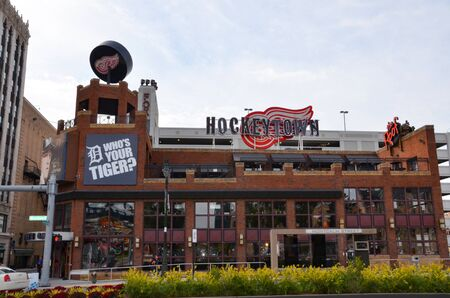DETROIT, MI  USA - OCTOBER 21, 2017:  Detroit's Hockeytown Cafe, across from Comerica Park in Detroit, was founded by Red Wings owner Mike Ilitch