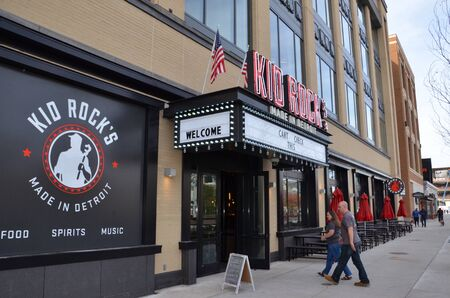 DETROIT, MI  USA - OCTOBER 21, 2017:  Patrons enter Kid Rock's restaurant, which opened at Little Caesar's arena near downtown Detroit.