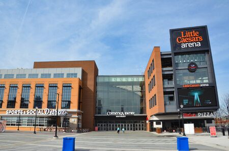 DETROIT, MI  USA - OCTOBER 21, 2017:  Detroit's Little Caesars Arena, shown here, is the home of the Detroit Red Wings and Detroit Pistons.