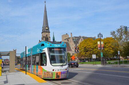 DETROIT, MI  USA - OCTOBER 21, 2017:  Detroit's QLine, shown here, runs along Woodward Avenue in downtown Detroit.