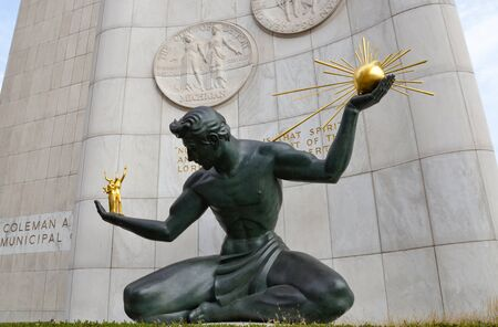DETROIT, MI  USA - OCTOBER 21, 2017:  The Spirit of Detroit sculpture in downtown Detroit, shown here, was restored in 2006.
