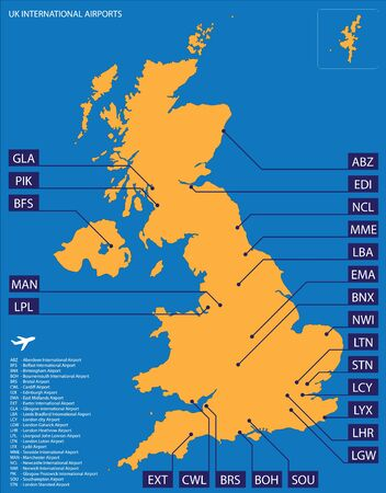 Vector map of United Kingdom with international airports Vector Illustratie