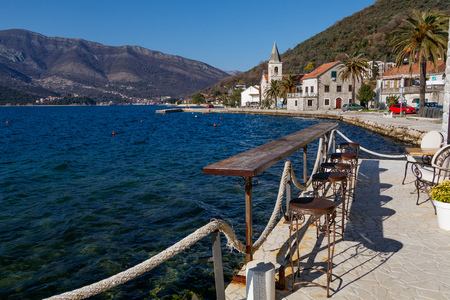 Sea view from the balcony of the Mediterranean Montenegro Stock Photo