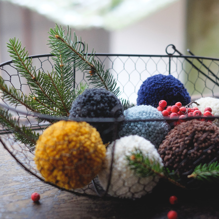 pompon from the hats in the basket like Christmas decorations