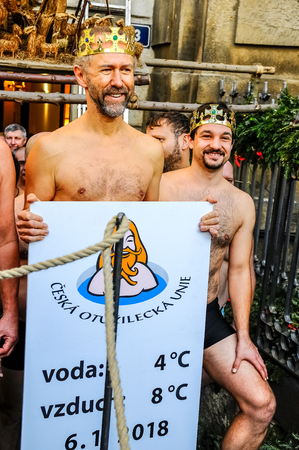 Three Kings Swimming in the River, January 6, 2018, Prague Czech Republic, Editorial