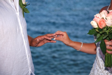 Bride and groom change rings on their wedding ceremony Stock Photo