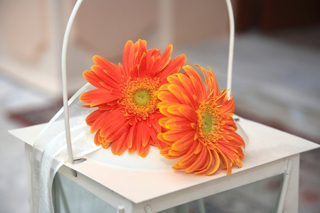 two red and orange flowers decorate a lantern Stock Photo - 11068606