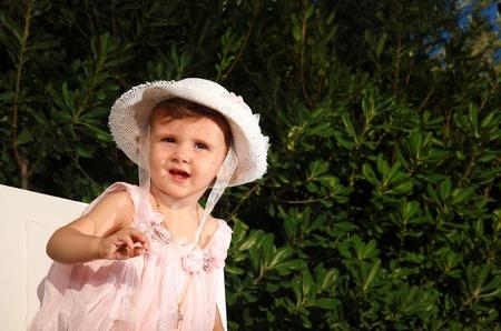 fashion photos: Kid fashion style portrait on a garden