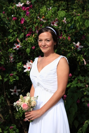 Bride holding her bouquet at her wedding day Stock Photo - 11109857