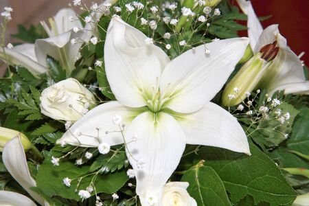flower photos: white flower composition for decoration inside a church Stock Photo
