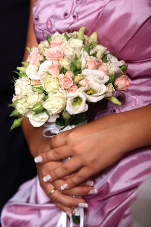 Bride holding her bouquet at the wedding Stock Photo - 11068650