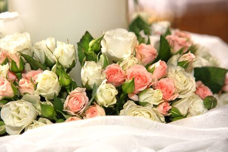 close-up of flowers on a greek wedding Stock Photo