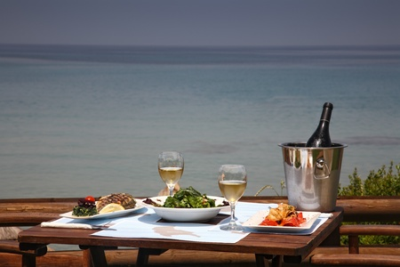 lunch on a table for two  at restaurant by the sea Stock Photo - 11068647