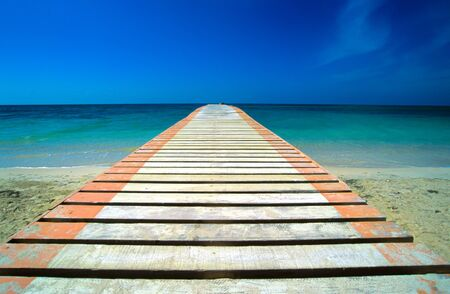 wood bridge cross the  tropic sea photo