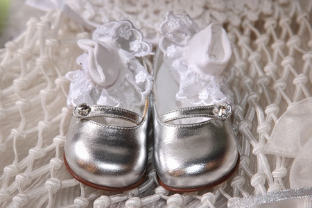 silver baby shoes with socks photo