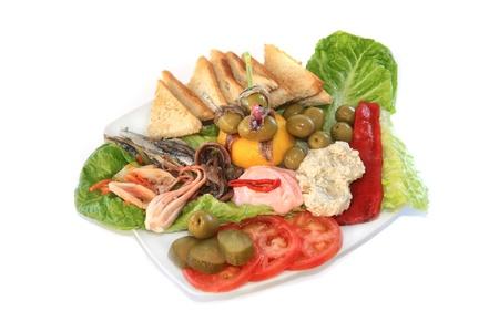 marinara: Greek style marinara salad isolated on white background