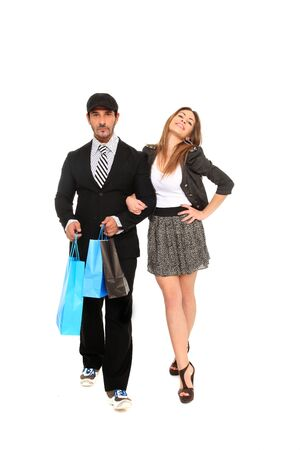 young stylish couple going for shopping Stock Photo - 11546015
