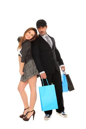 young happy stylish couple going for shopping Stock Photo - 11546012
