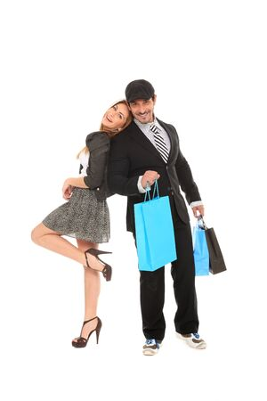 young happy stylish couple going for shopping Stock Photo - 11546007