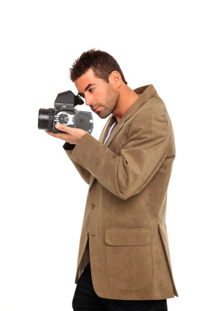 photographer takes a picture with medium format camera photo