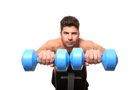 personal trainer shows excersice for hands