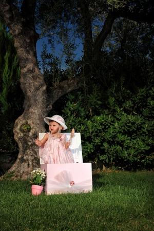 Kid fashion style portrait outdoor photo