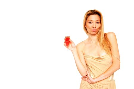 beautiful girl holding a glass of champagne isolated on a white background photo