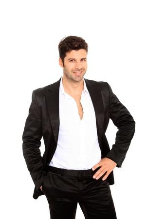 traje: hombre guapo en traje aislado en un fondo blanco Foto de archivo