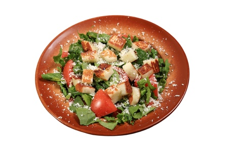 haloumi: fresh green salad with haloumi cheese