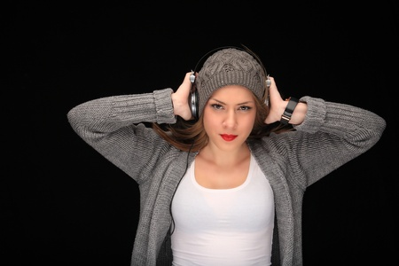 happy girl with headphones listening music Stock Photo - 11940722