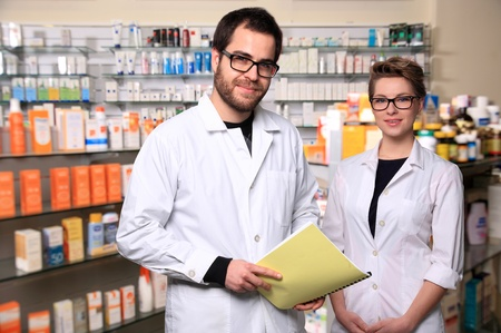 portrait of young couple pharmacist Stock Photo