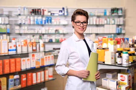 portrait of beautiful young pharmacist Stock Photo