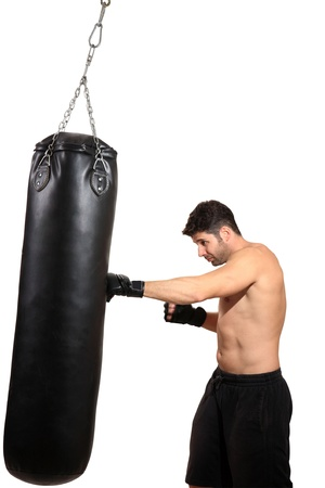 young boxer exercising isolated on a white background